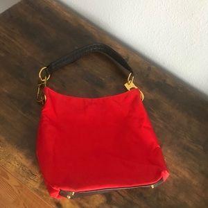 Braciano Red Bag w Black Strap Gold Hardware
